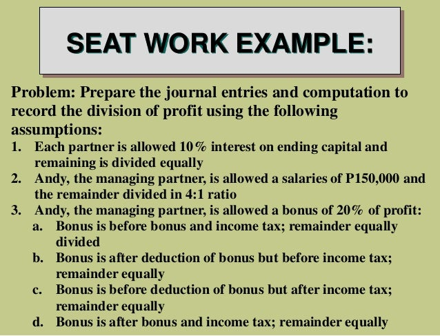 example of accounting work