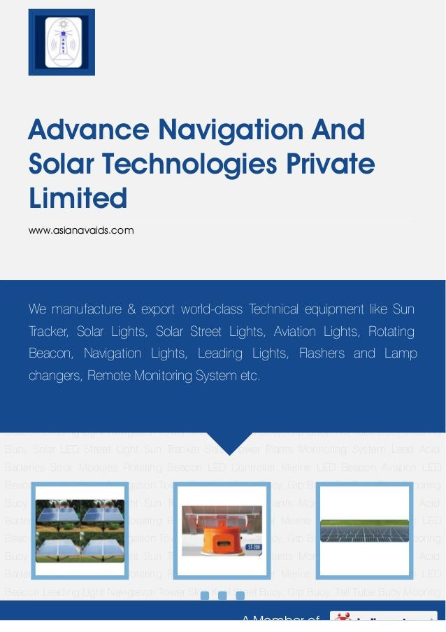A Member ofAdvance Navigation AndSolar Technologies PrivateLimitedwww.asianavaids.comSolar LED Street Light Sun Tracker So...