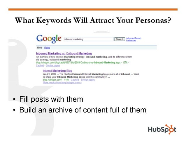 What Keywords Will Attract Your Personas? • Fill posts with them• Fill posts with them • Build an archive of content full ...