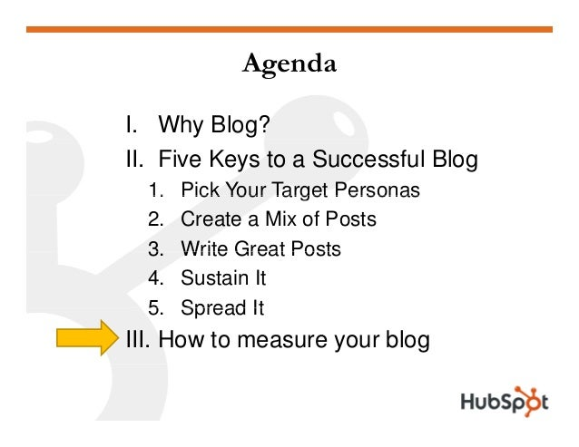 Agenda I. Why Blog? II. Five Keys to a Successful Blog 1. Pick Your Target Personas1. Pick Your Target Personas 2. Create ...