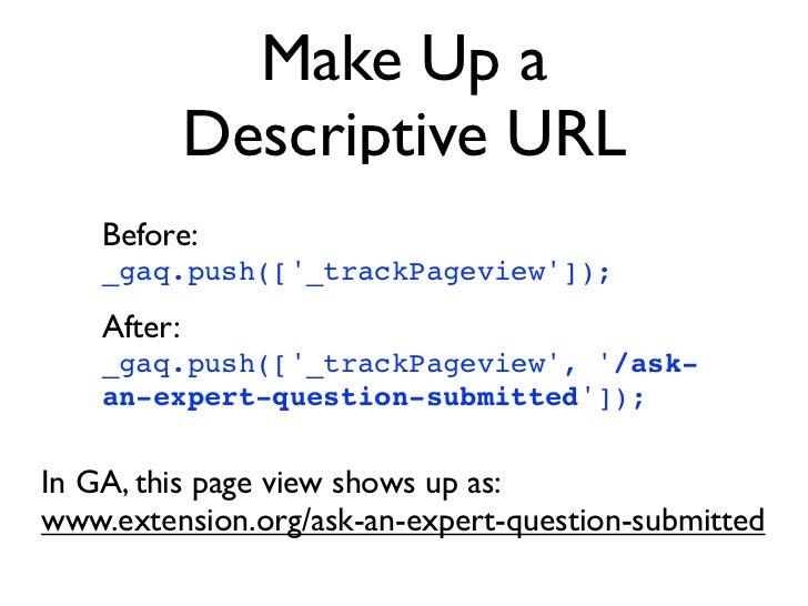 Make Up a             Descriptive URL    Before:    _gaq.push([_trackPageview]);    After:    _gaq.push([_trackPageview, /...
