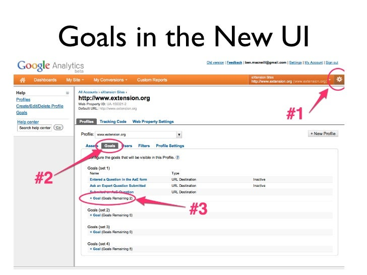 Goals in the New UI