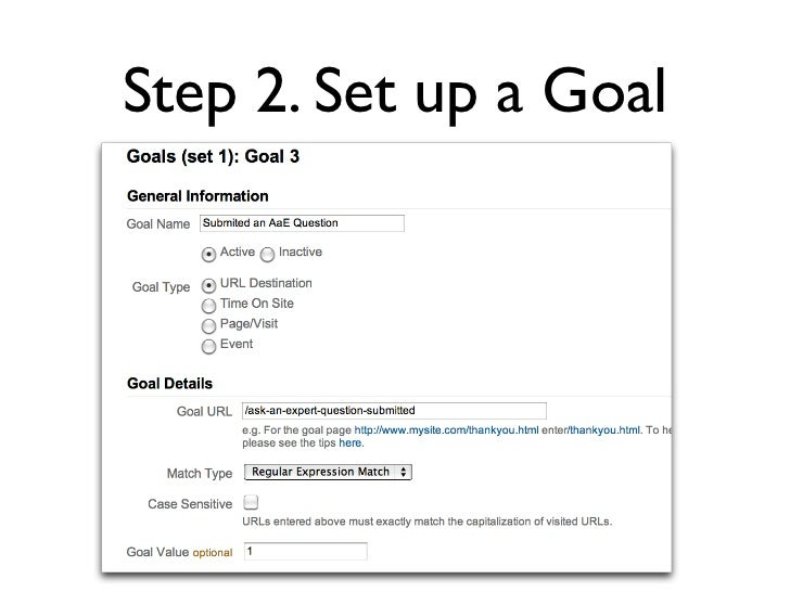 Step 2. Set up a Goal