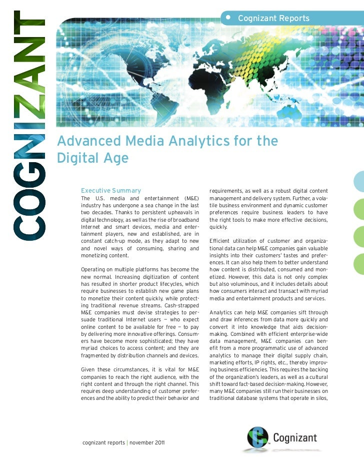 •     Cognizant ReportsAdvanced Media Analytics for theDigital Age   Executive Summary                                    ...