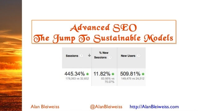 Alan Bleiweiss @AlanBleiweiss http://AlanBleiweiss.com Advanced SEO The Jump To Sustainable Models Advanced SEO The Jump T...