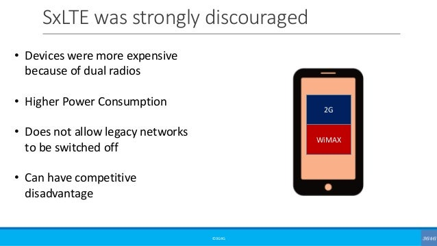 SxLTE was strongly discouraged ©3G4G • Devices were more expensive because of dual radios • Higher Power Consumption • Doe...