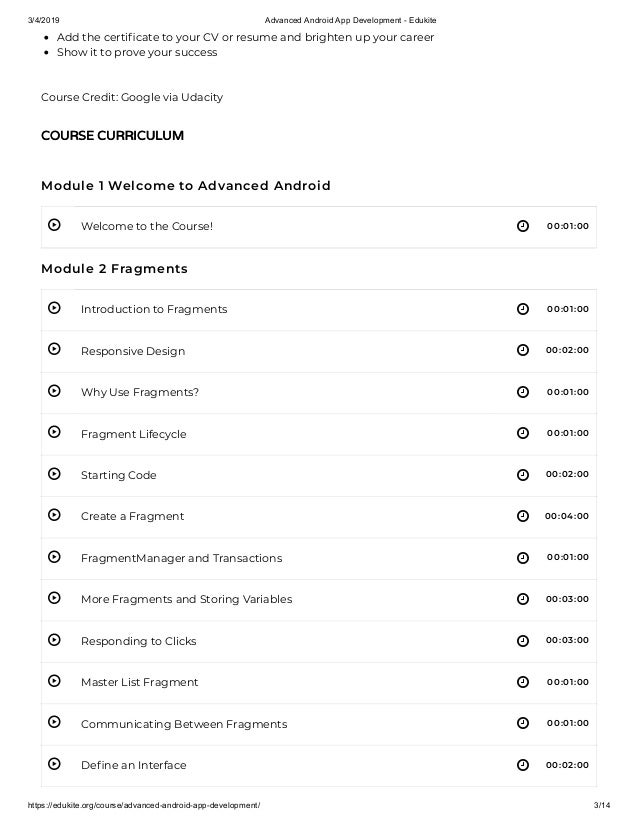 Advanced android app development - edukite