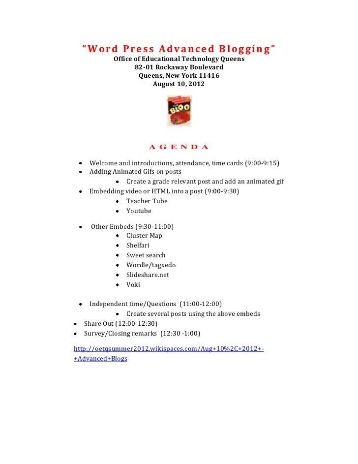 """Word Press Advanced Blogging""           Office of Educational Technology Queens                  82-01 Rockaway Boulevard..."