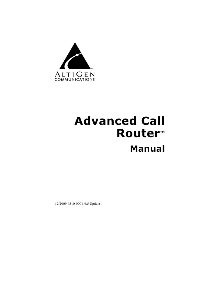AltiGen Advanced Call Router Manual