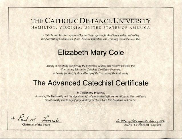 Advanced Catechist Certificate Cdu