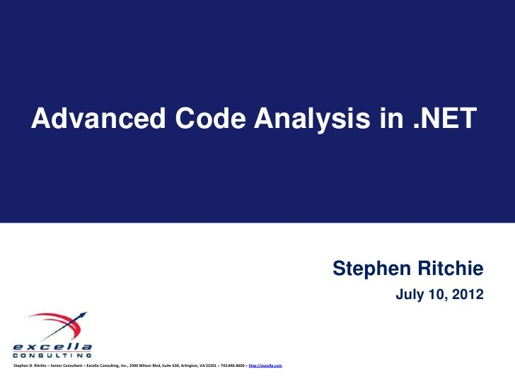 Advanced Code Analysis in .NET                                                                                            ...