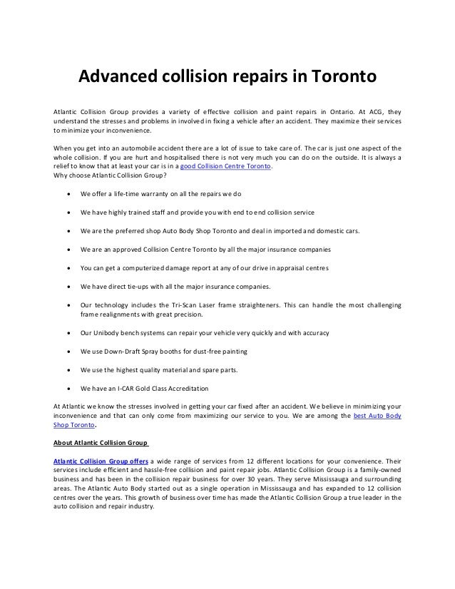 Advanced collision repairs in toronto
