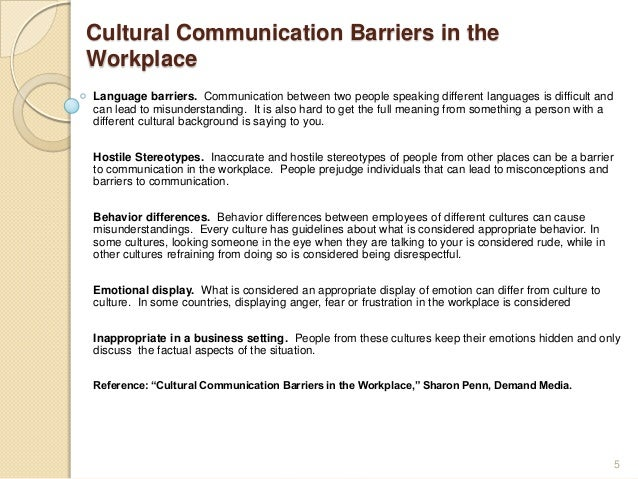 Communication Barriers in the Workplace Essay Sample