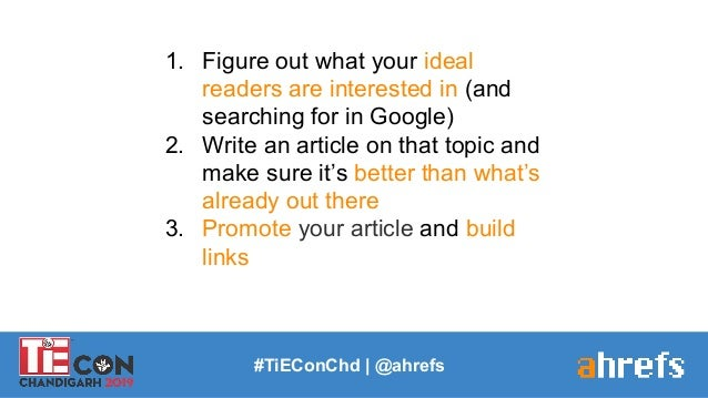 1. Figure out what your ideal readers are interested in (and searching for in Google) 2. Write an article on that topic an...