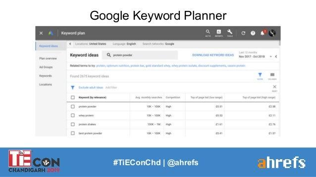 Google Keyword Planner #TiEConChd   @ahrefs