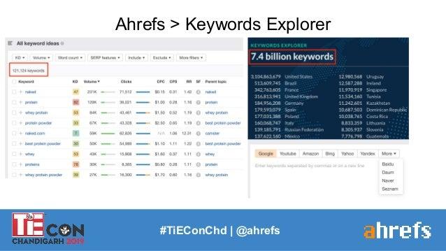 #TiEConChd   @ahrefs Ahrefs > Keywords Explorer