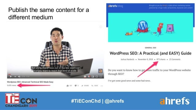 #TiEConChd   @ahrefs Publish the same content for a different medium