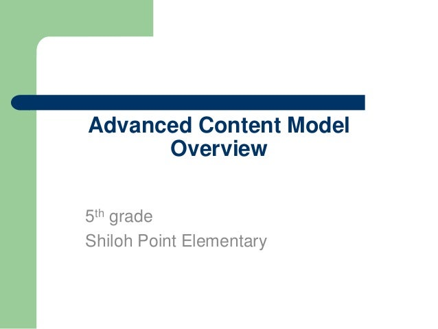 Advanced Content Model Overview 5th grade Shiloh Point Elementary