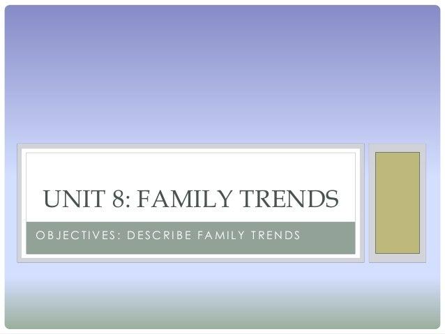 UNIT 8: FAMILY TRENDSOBJECTIVES: DESCRIBE FAMILY TRENDS