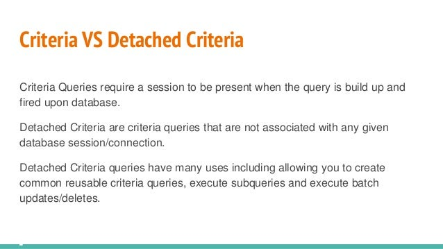 Advanced criteria queries