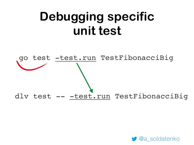 Debugging unit tests: breakpoint dlv test github.com/andriisoldatenko/debugging-containerized-go- applications/ Type 'help...