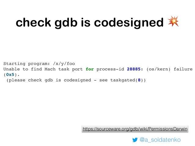@a_soldatenko 💡GDB: hm….. (gdb) b main.main Breakpoint 1 at 0x10b70f0 (gdb) c The program is not being run. (gdb) run Star...