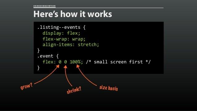 ADVANCED DESIGN METHODS Here's how it works @media(min-width:28.75em){ .event{ grid-column:span3; }  ...