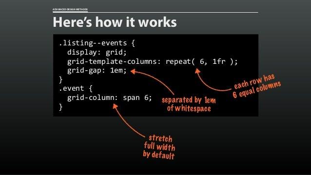 ADVANCED DESIGN METHODS Content Teasers 1fr 2fr grid-template-columns:1fr2fr; grid-gap:1rem;
