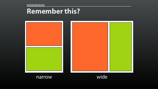 ADVANCED DESIGN METHODS Remember this? narrow wide