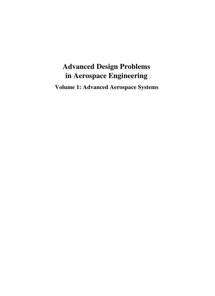 Advanced Design Problems In Aerospace Engineering