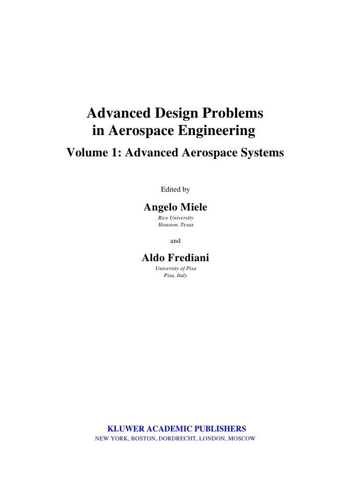 Advanced Design Problems In Aerospace Engineering  Slide 3
