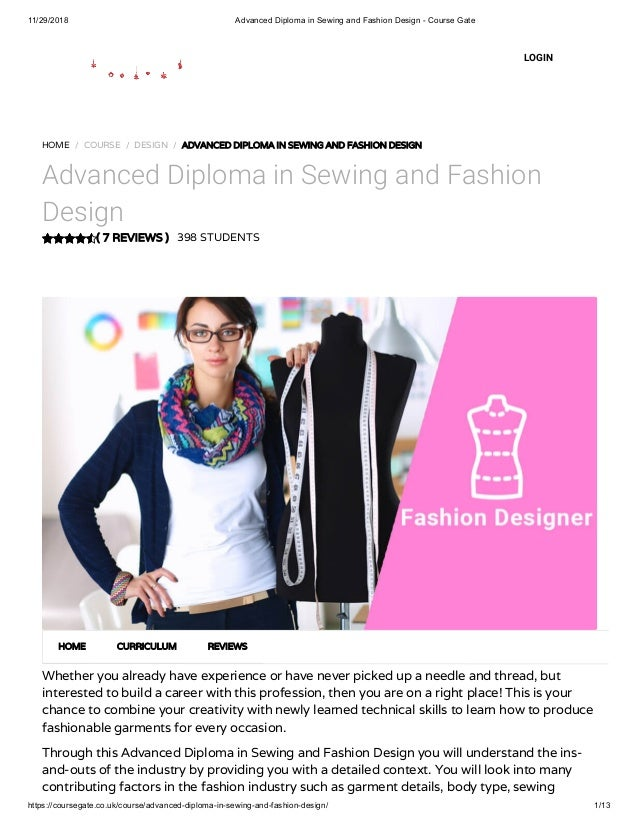 Advanced Diploma In Sewing And Fashion Design Course Gate