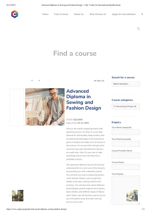 Advanced Diploma In Sewing And Fashion Design Centre For Internati