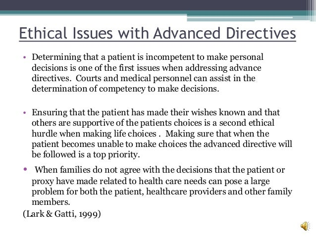 advanced directives Advance directives, every patient has the right to determine how vigorously they  would  advance directive document prepared by dc hospital association.