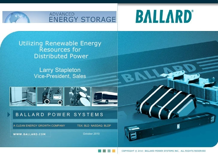 October 2010 Utilizing Renewable Energy Resources for  Distributed Power Larry Stapleton Vice-President, Sales