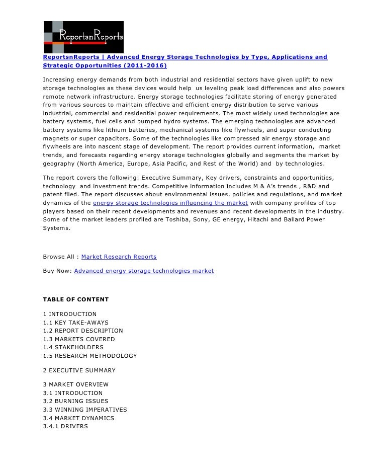 ReportsnReports   Advanced Energy Storage Technologies by Type, Applications andStrategic Opportunities (2011-2016)Increas...