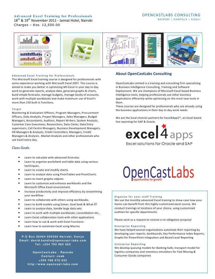 Adv a nc ed E x cel Tra i n i ng f o r P ro f e s sio na ls                                   OPENCASTLABS CONSULTING    t...