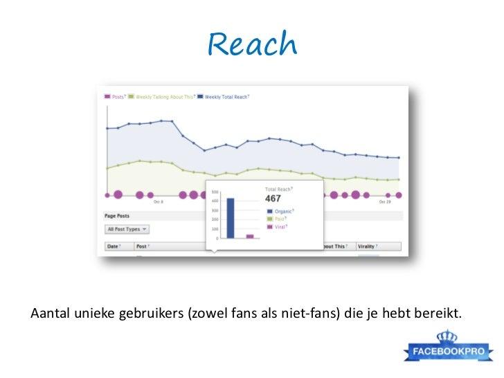 ReachAantal unieke gebruikers (zowel fans als niet-fans) die je hebt bereikt.