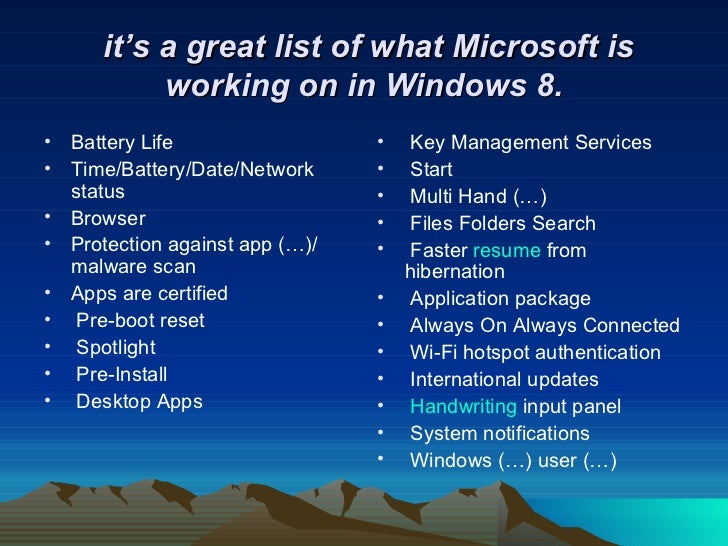advanced features of windows 8