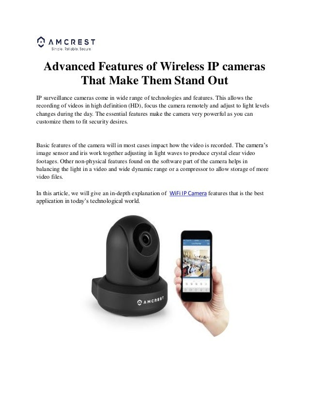 Advanced features of wireless ip cameras that make them