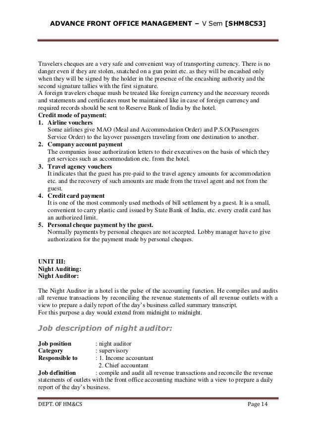 Advanced front office management – Night Auditor Job Description