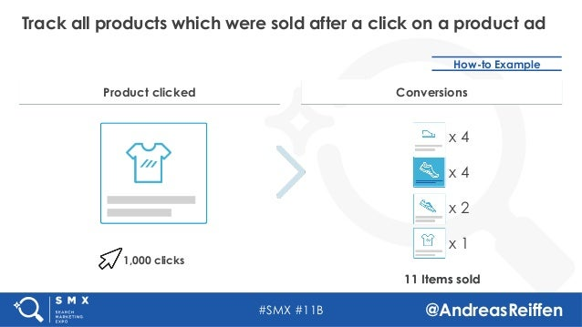 #SMX #11B @AndreasReiffen Track all products which were sold after a click on a product ad How-to Example 1,000 clicks 11 ...
