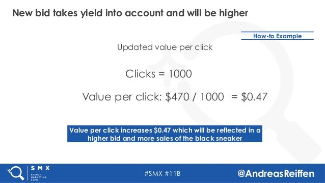 #SMX #11B @AndreasReiffen New bid takes yield into account and will be higher Clicks = 1000 Value per click: $470 / 1000 U...