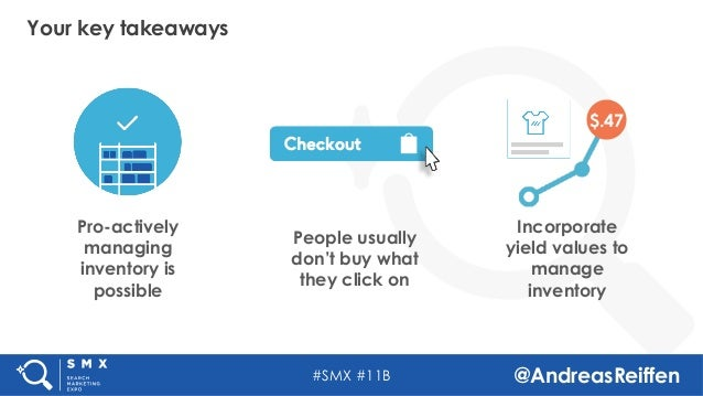 #SMX #11B @AndreasReiffen Pro-actively managing inventory is possible People usually don't buy what they click on Incorpor...