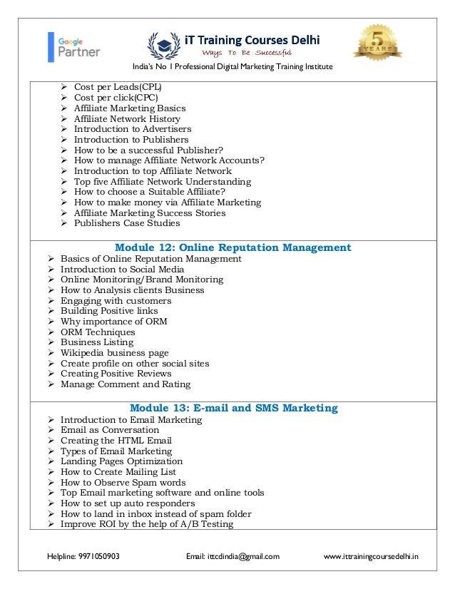 new Advance digital marketing course Syllabus