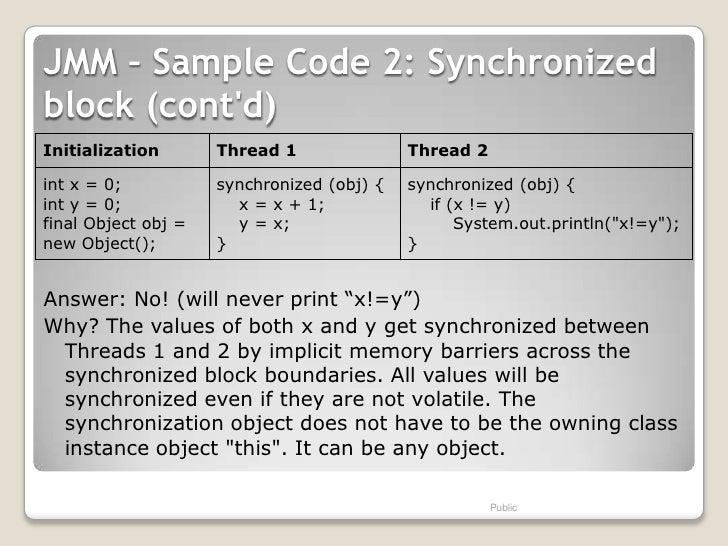 JMM – Sample Code 2: Synchronizedblock (contd)Initialization       Thread 1               Thread 2int x = 0;           syn...