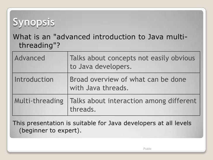 """SynopsisWhat is an """"advanced introduction to Java multi- threading""""?Advanced            Talks about concepts not easily ob..."""