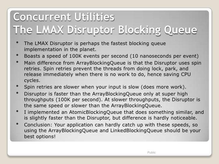 Concurrent UtilitiesThe LMAX Disruptor Blocking Queue•   The LMAX Disruptor is perhaps the fastest blocking queue    imple...