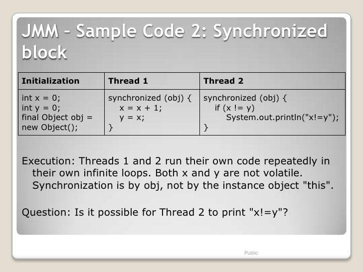 JMM – Sample Code 2: SynchronizedblockInitialization       Thread 1               Thread 2int x = 0;           synchronize...