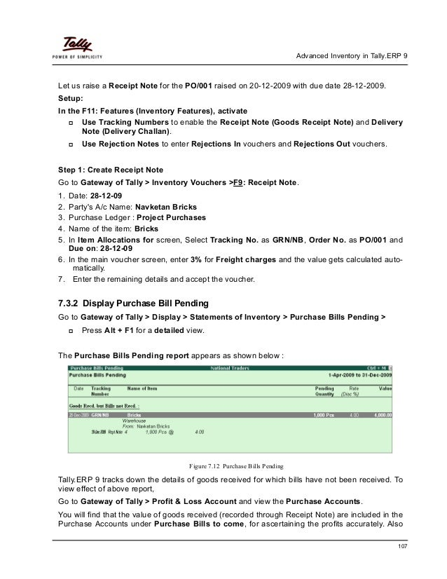 Advanced inventory in tally erp 9 – Goods Received Note Format